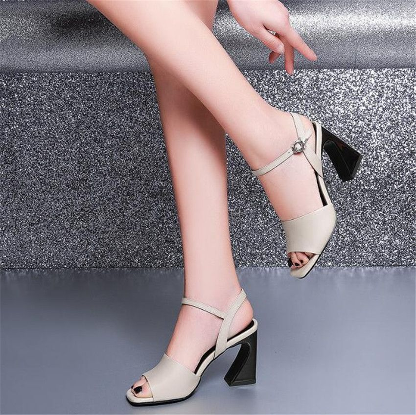 ZOUDKY 2018 summer new fish mouths buckles high heels