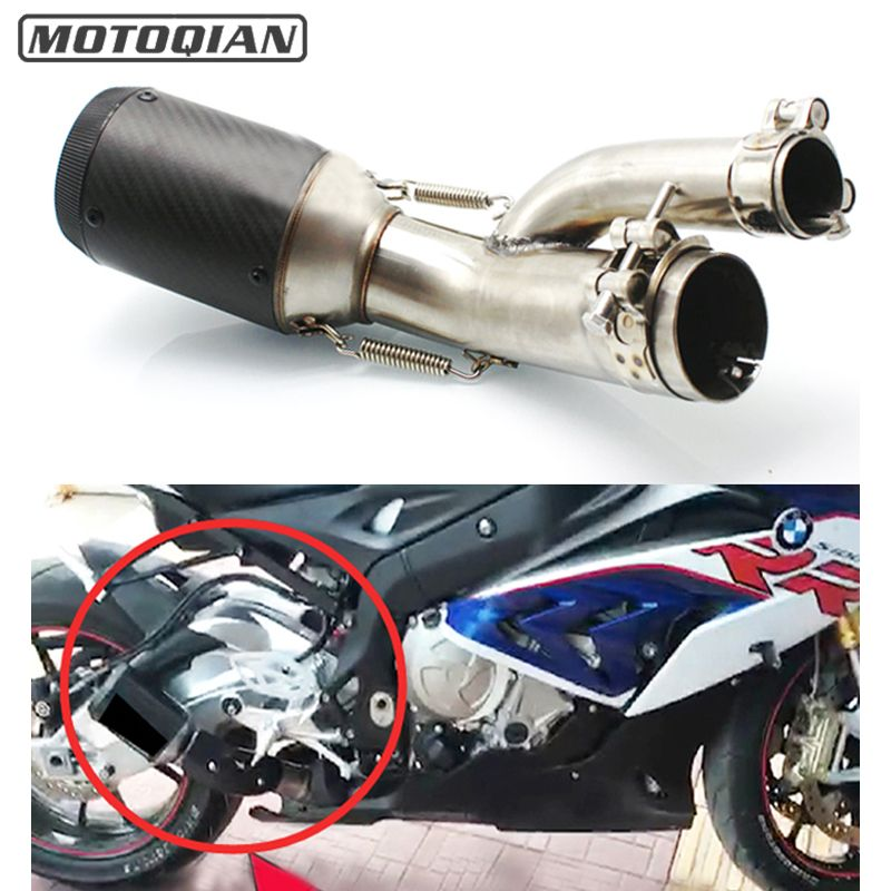 For BMW S1000RR S1000R S1000XR 2017 2018 Motorcycle 51mm Exhaust Muffler Middle Link Pipe Escape Connection System Connector