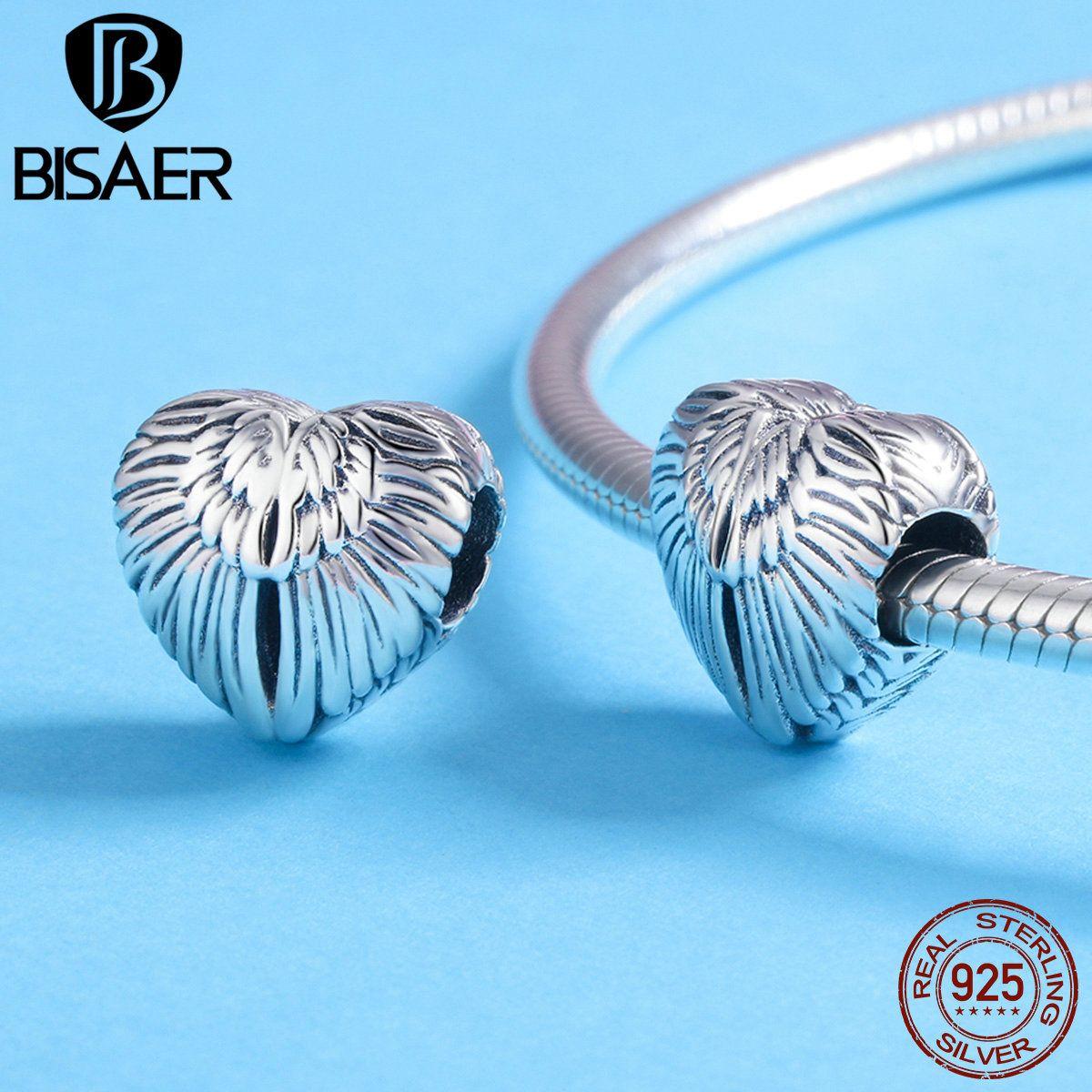 Accessoires Amant Cadeau Vintage Sterling 925 Argent Aile de Coeur D'amour Perle Fit Charms Charm Bracelet & Collier ECC780