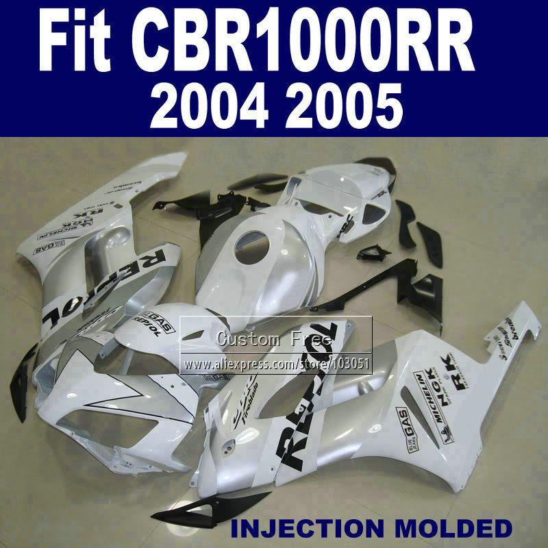 ABS Injection verkleidung kits für 04 05 Honda CBR1000RR CBR 1000 RR 2004 2005 CBR 1000RR weiß repsol verkleidungen körper set