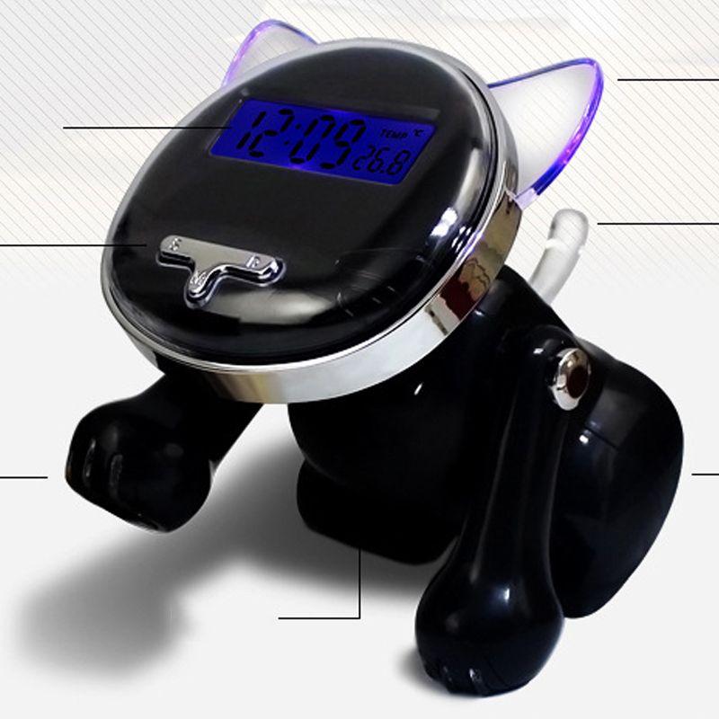 12/24 heures réveil intelligent numérique pour les chambres avec batterie de secours, enfant comme mignon chat voix parlant montre de bureau pour aveugle