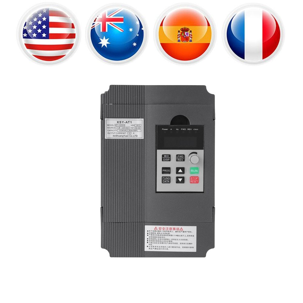 220V AC Variable Frequency Drive Inventer Single Phase VFD Speed Controller Variable Speed Drive for 3-phase Motor Speed Control