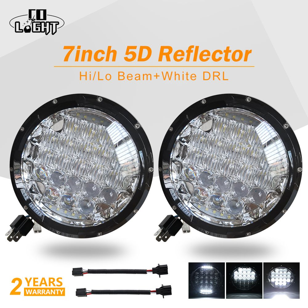 CO LIGHT Automobiles Running Lights 70W 5D 7inch Led Headlight Angel Eyes H4 Led 35W for Niva 4X4 Uaz Lada Jeep Car Accessories