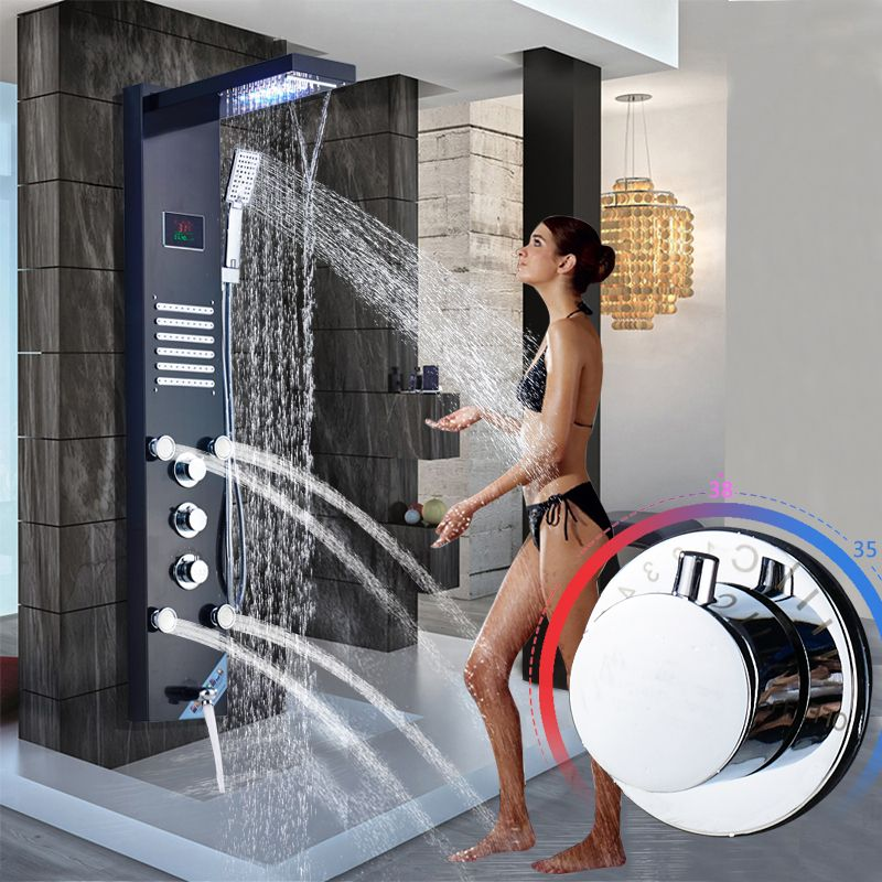 Brushed Nickel Stainless Steel 5-function Waterfall Rain Shower Panel with Massage System Tub Spout and Handshower Shower Column