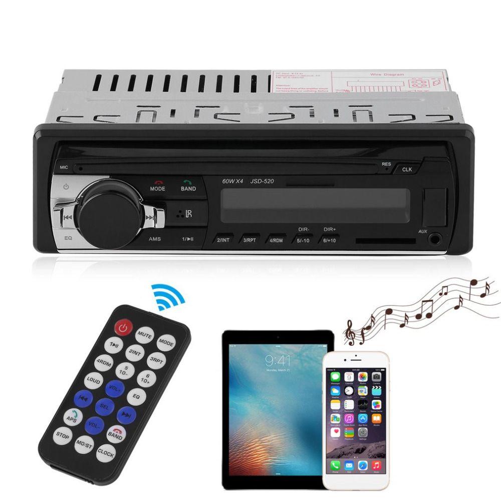 JSD-520 Car Radio Stereo Music Player Bluetooth Phone MP3 Remote Control 12V Car Audio Vehicle Music Device