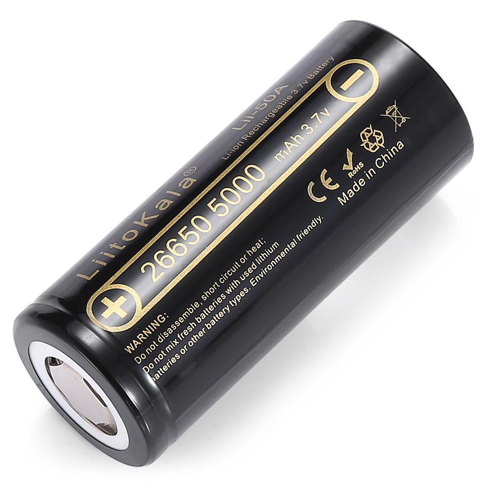 HK LiitoKala Lii-50A 26650 5000 mah Batterie 3.7 v Li-ion Rechargeable Batterie pour E Cigarette Vaporisateur LED lampe de Poche Lampe Torche
