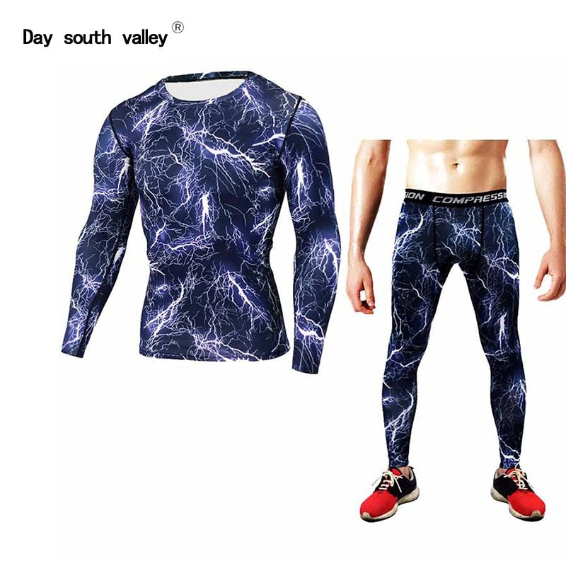 lightning Mens Set Compression Base Layer Weight Lifting Fitness Tight MMA Crossfit Tops Rashguard T-shirt camouflage