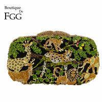 Boutique De FGG lluvia bosque De la jungla De cristal De mujeres Animal Zoo noche señoras diamante bolso fiesta nupcial De la boda bolso De embrague