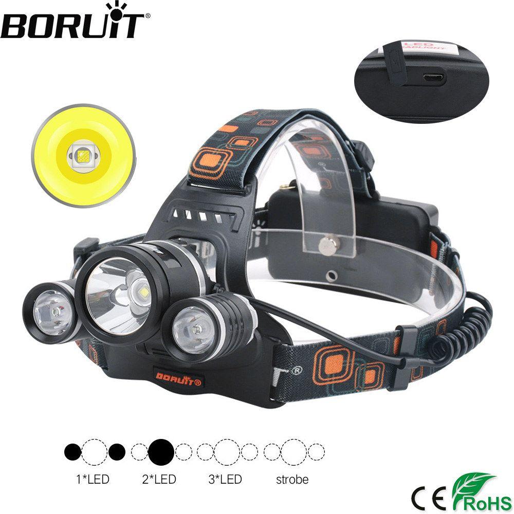 BORUiT XM-L2 R5 LED Phare 18650 Batterie USB Chargeur Phare 4-Mode Étanche Tête Torche Camping Chasse lampe de Poche