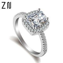 ZN Mode Ringe Zeigen Elegante Temperament Schmuck Frauen Mädchen Weiß Silber Gefüllt Hochzeit Ring