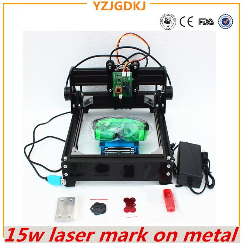 15W laser engraving machine ,big power laser engraver,metal carving marking machine,DIY metal engraving machine mark on dog tag