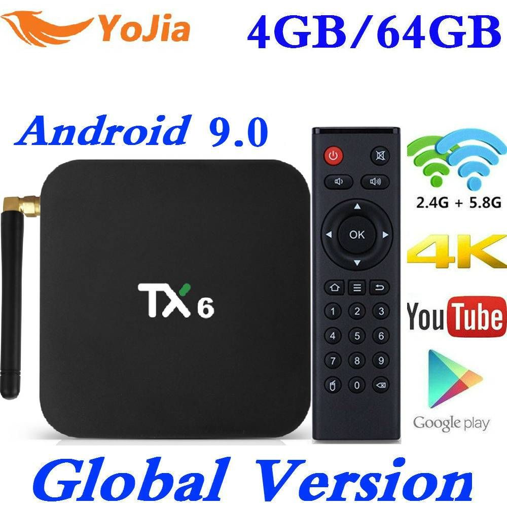 Le plus récent Smart TV Box Android 9.0 Tanix TX6 Allwinner H6 4GB RAM 64GB ROM 32G 4K 2.4G/5GHz double WiFi 2G16G PK HK1 MAX lecteur multimédia