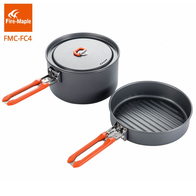 Fire Maple Outdoor Camping Hiking Pinic Hard Aluminium Alloy Cookware Cooking Picnic 1 Fry Pan 1 Pot Set Foldable Handle FMC-FC4