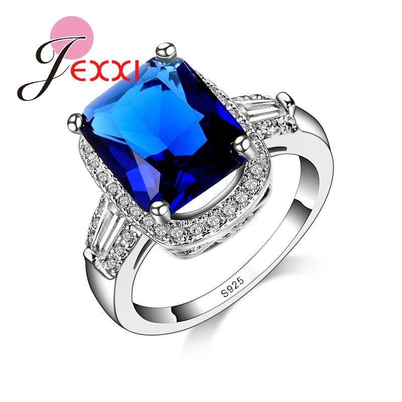 JEXXI De Luxe Bijoux Grande Forme Carrée Bleu Cristal Mosaïque De Pierre Anneaux De Mode Zircon Strass Doigt Anneaux S925 Estampillé