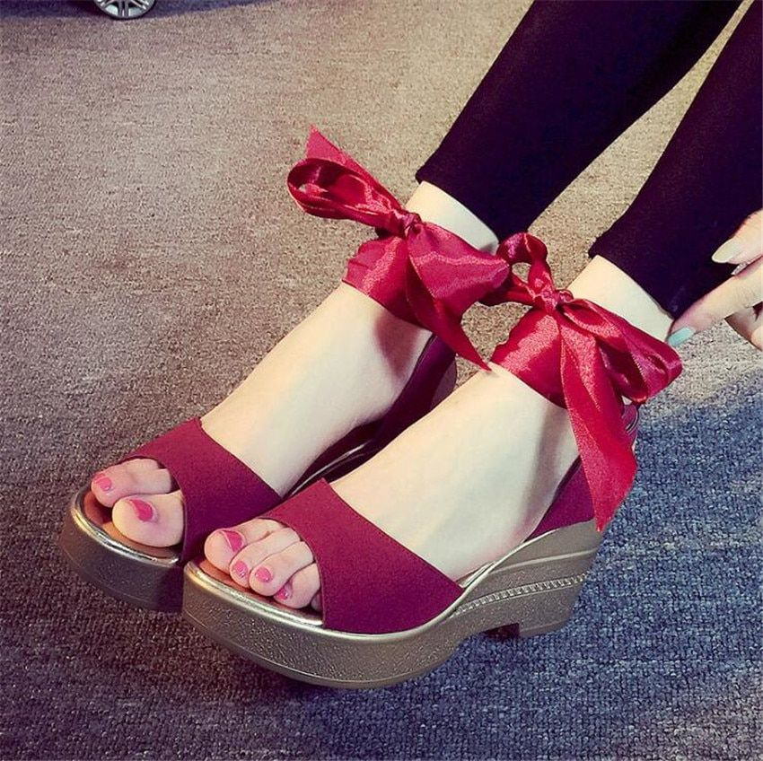 ZOUDKY Waterproof table muffin tied with thick bottom slope sandals <font><b>Rome</b></font> strap high heels shoes