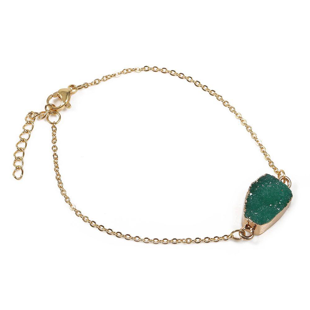 Bracelet naturel vert à la mode réglable tout le monde peut porter de l'acier inoxydable ne se fanent jamais des cadeaux de fille de bracelets pour femme d'or