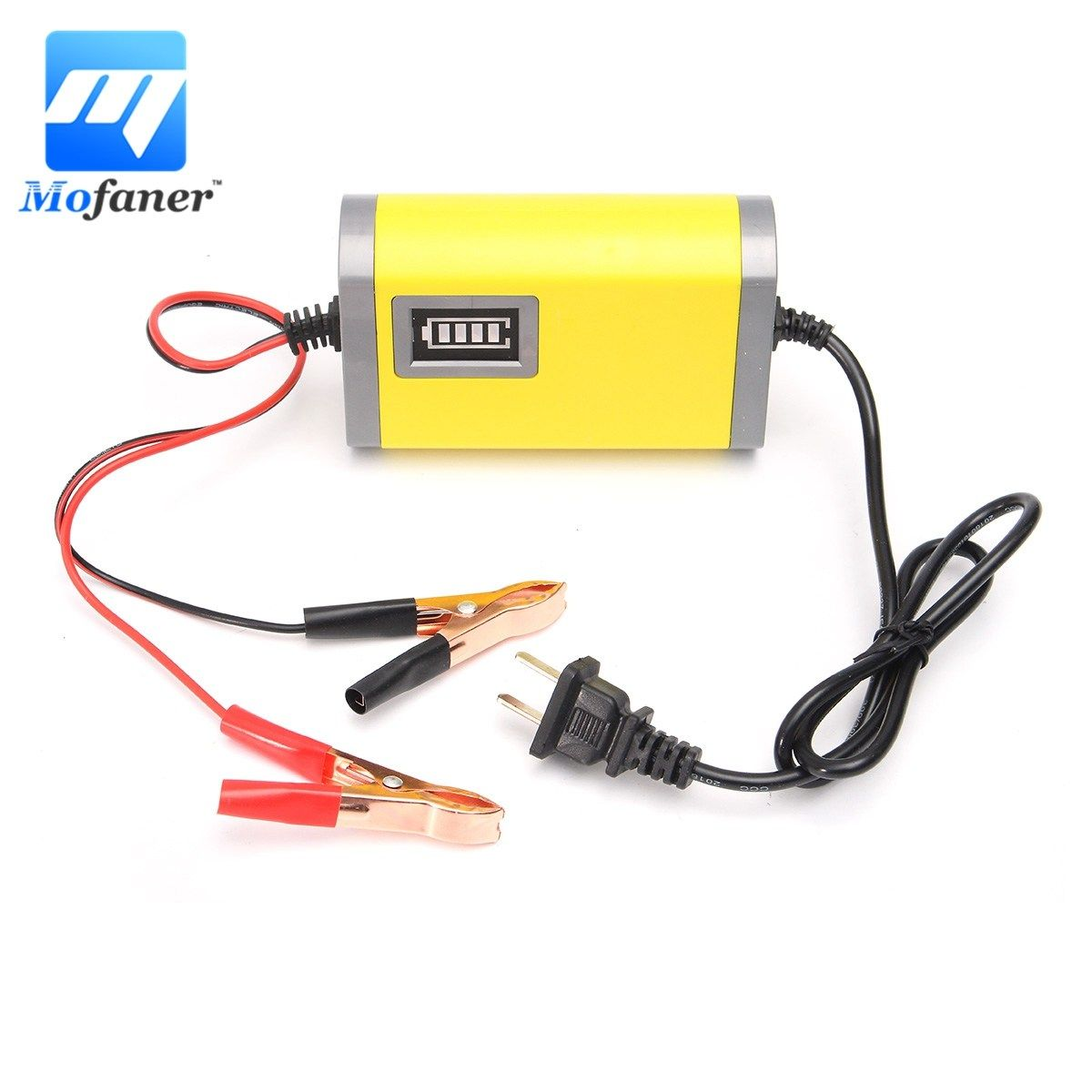 Led 12V 2A Motorcycle Smart Automatic Battery Charger Maintainer AC 220V 50/60Hz Yellow