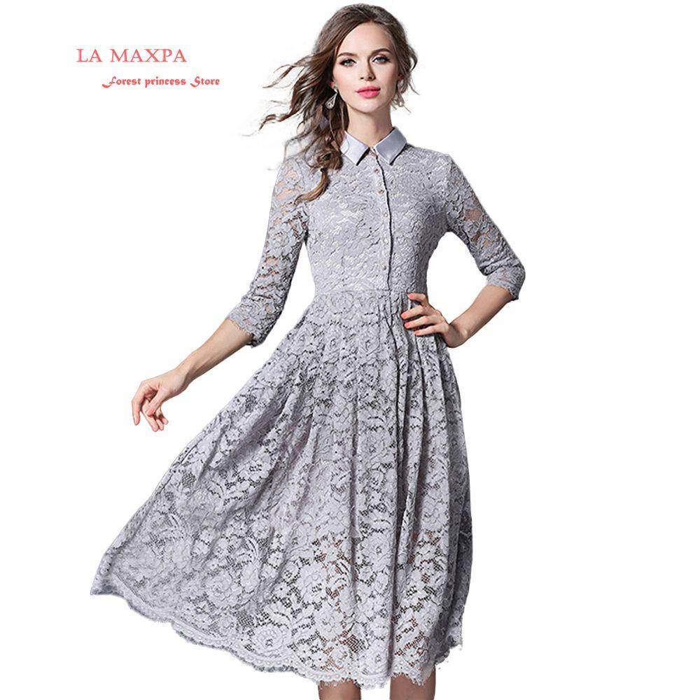 2018 New spring La MaxPa Woman Solid Gray Hollow Out Lace A-Line Casual Midi Dress Vestidos Talla Grande Mujer Casual La6085