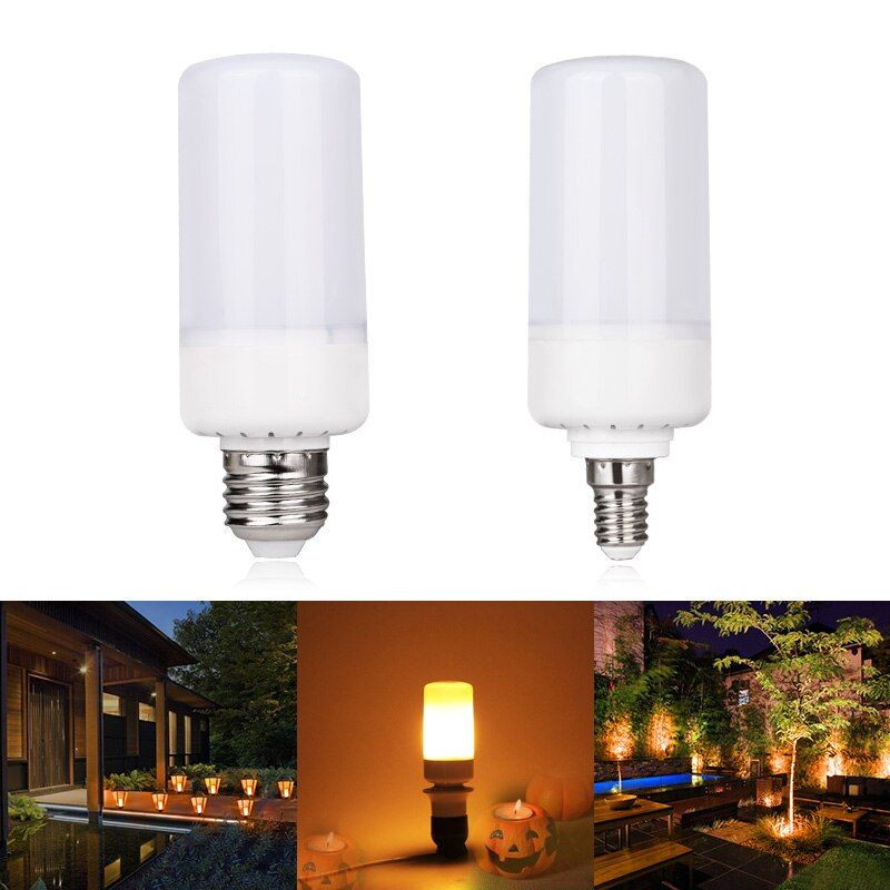 LED SMITH LED Flame Effect Fire Light Bulbs E27 E14 5W 3modes Safe And Energy-saving LED Light Bulb AC85-265V