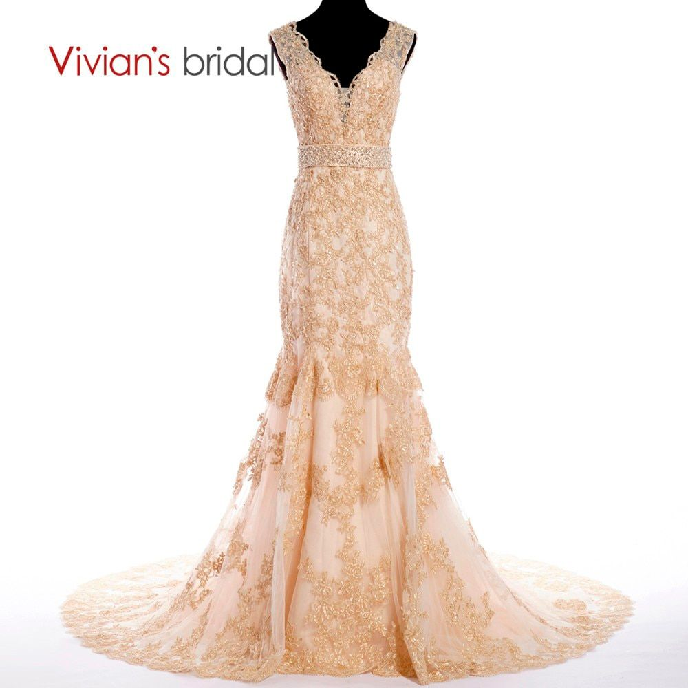 Vivian's Bridal Crystal Appliques Champagne Wedding Dress Mermaid Wedding Gown