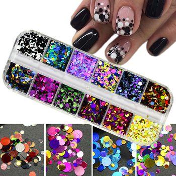 1Set Ultrathin Sequins Nail Art Glitter Mini Paillette Colorful Round 3d Nail Decorations Mixed Size Manicure Accessories BEP