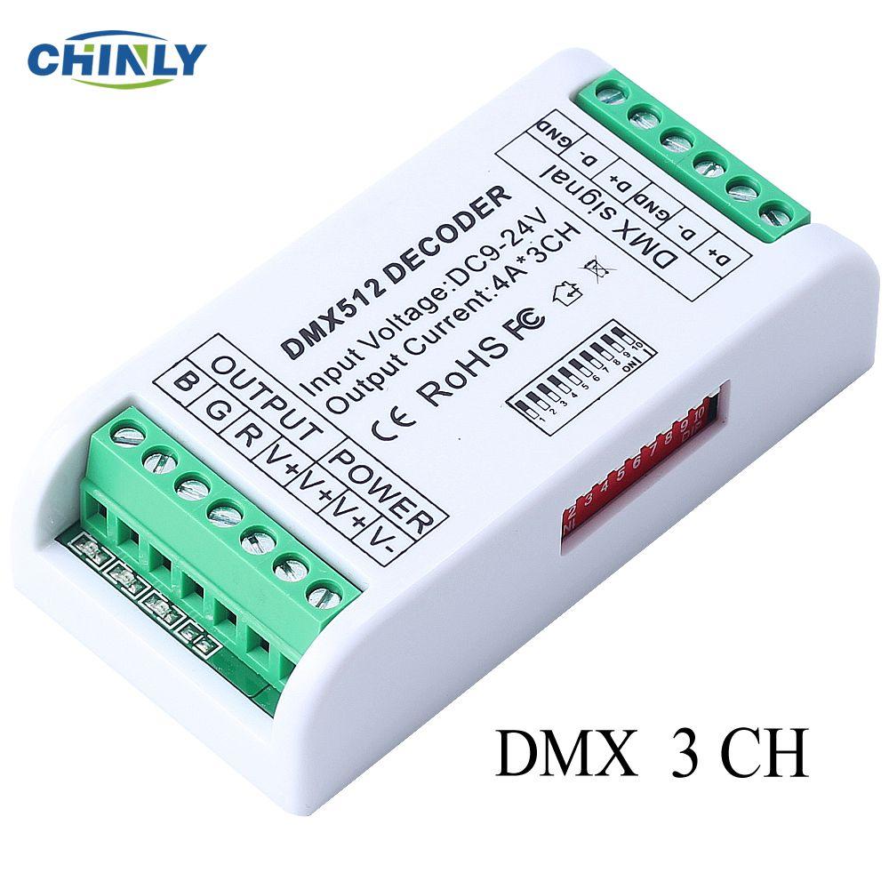 3CH DMX 512 LED décodeur contrôleur gradateur 12 V-24 V console utilisation pour RGB LED bande