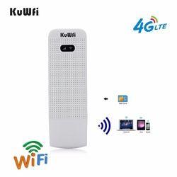Kuwfi 4G LTE Modem 3G/4G USB Dongle Mini Pocket Mobile Hotspot WiFi Dibuka Perjalanan Mobil -Wifi Router dengan Slot Kartu SIM