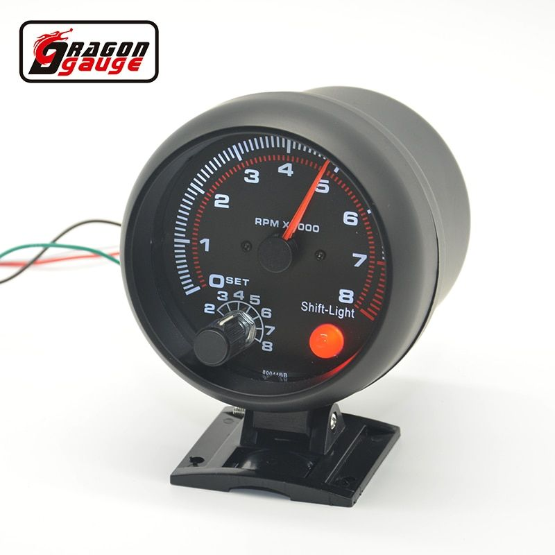 3.75 inch Car Black  shell White blacklight Auto Car Tachometer gauge RPM car 0-8000 rpm For 4.6.8 cylinder  warning function