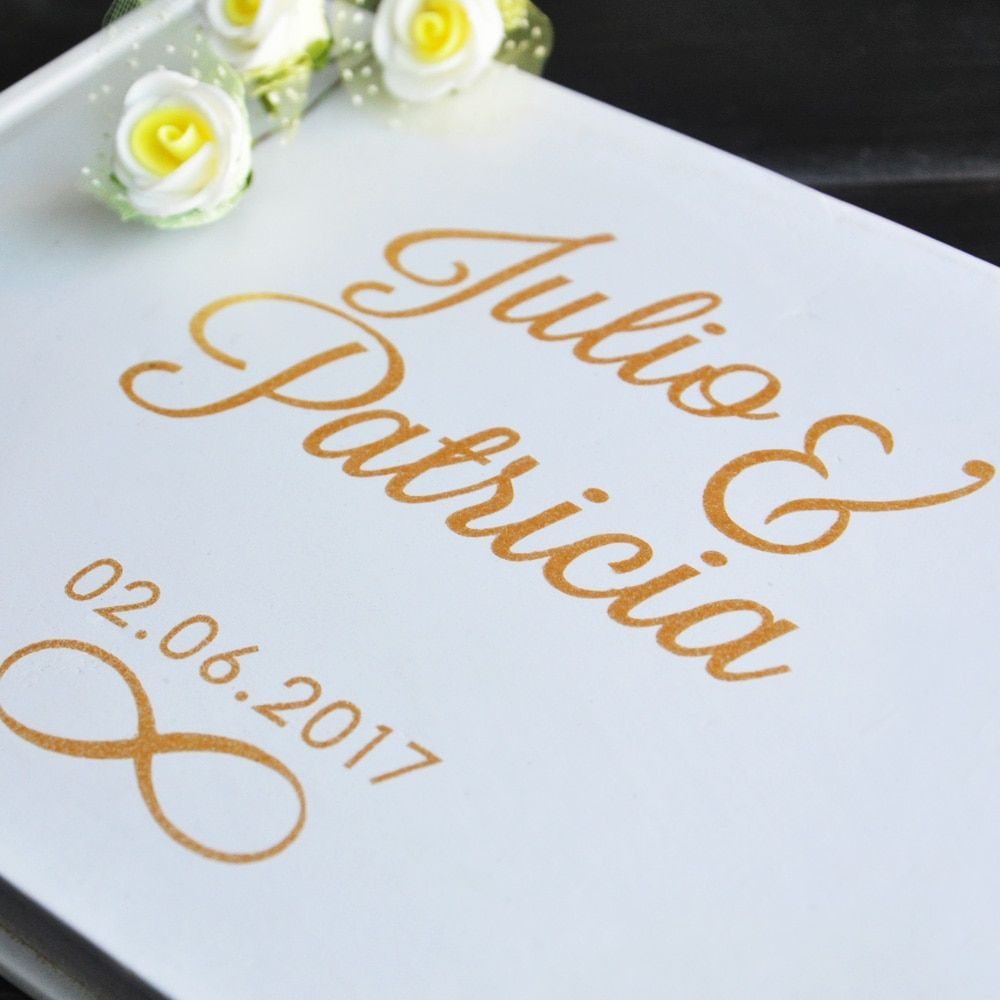 Personnalisé Livre d'or Or Calligraphie Alternative Livre D'or Personnalisé Noms et Date De Mariage Journal A5 taille