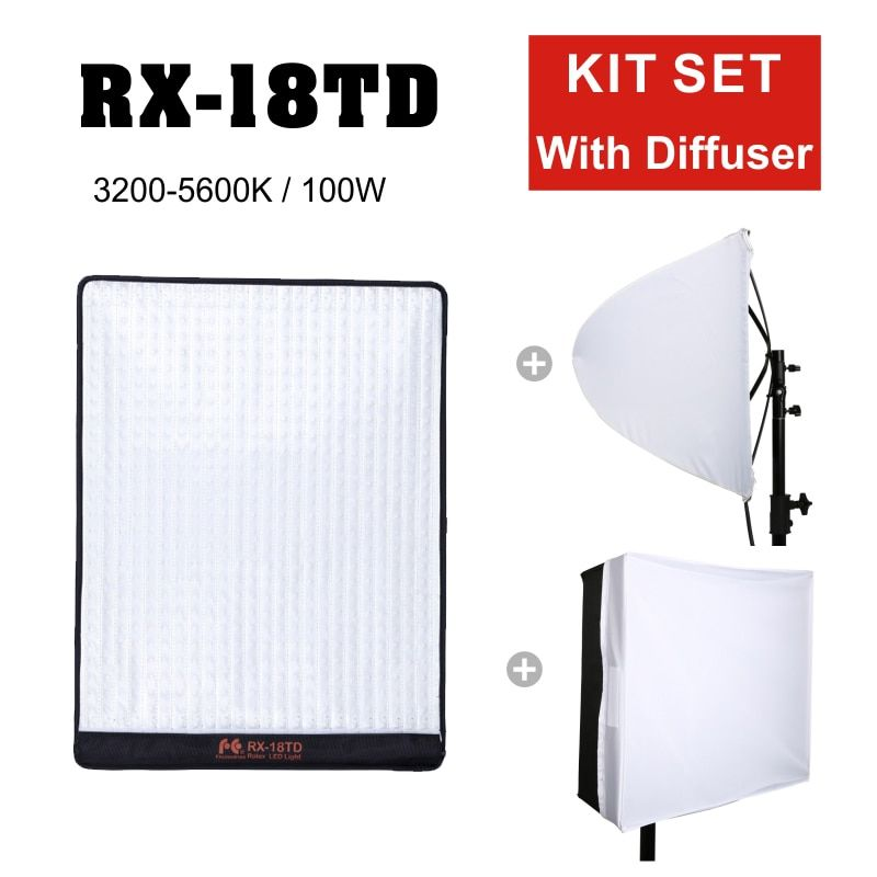 FalconEyes RX-18TD 100W 504pcs Flexible LED Video Light Rollable Cloth Lamp LCD Touch Screen Controller with Diffuser