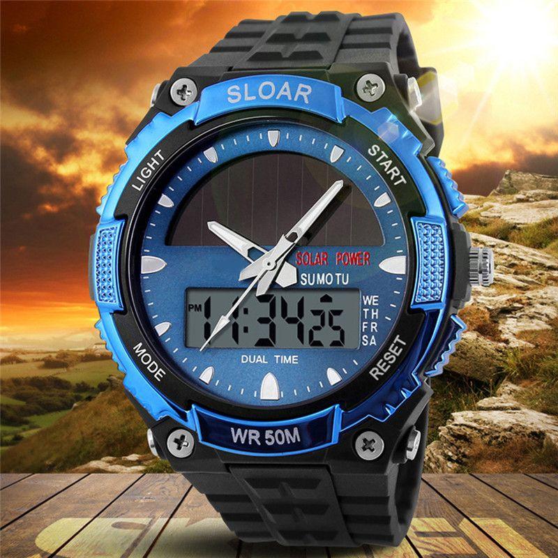 2018 nouveaux hommes sport énergie solaire double affichage du temps résistant à l'eau électronique Silicone bracelet numérique montre-bracelet erkek kol saati