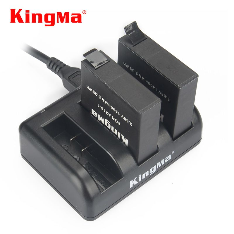 Original KingMa Xiaomi Yi 4K 4k+4K Lite Battery 2PCS 1400Mah Battery+Charger For Sport Yi 4K 2 <font><b>Action</b></font> Camera Battery Accessories