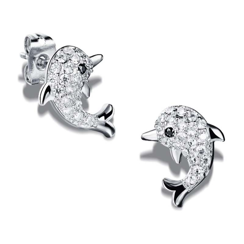 Marine Dolphin Animal Earrings CZ Crystal Pave Sea Creature Post Earrings Classic Party Jewelry Valentines Day Gift 2017 New