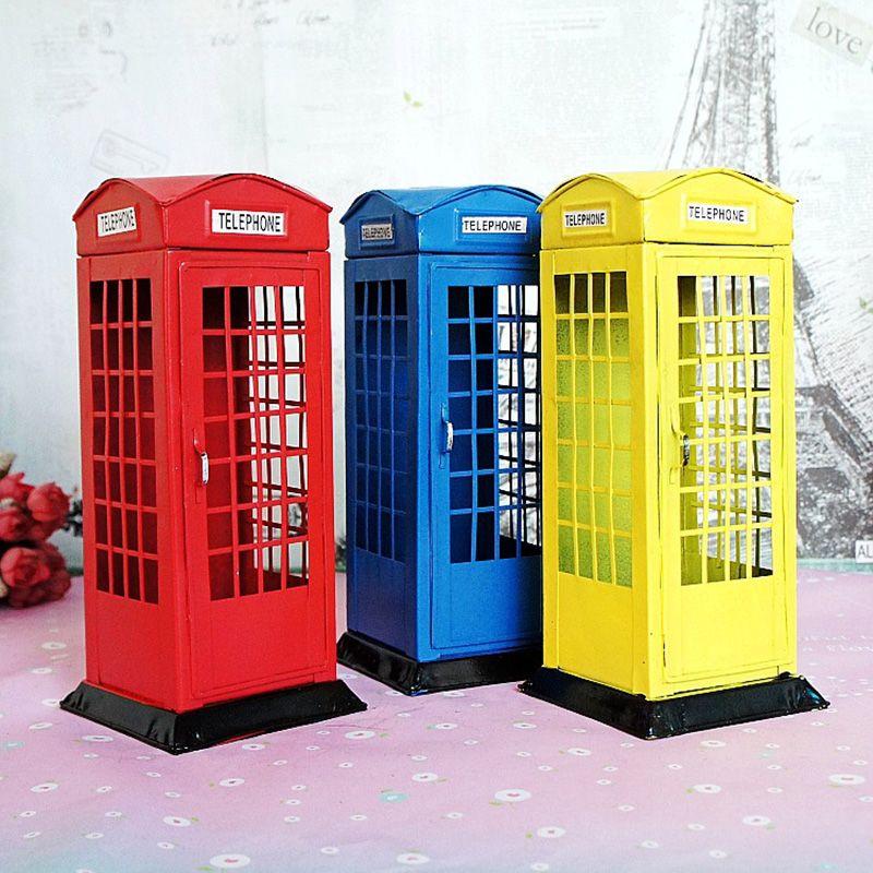 Creative London cabine téléphonique tirelire fer artisanat ameublement Articles monnaie sauver banque de pièces enfants cadeaux d'anniversaire