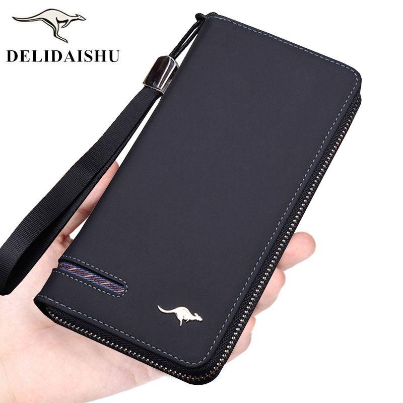 Designer hommes portefeuilles célèbre marque kangourou hommes Long portefeuille embrayage mâle dragonne portefeuille grande capacité téléphone sac porte-carte