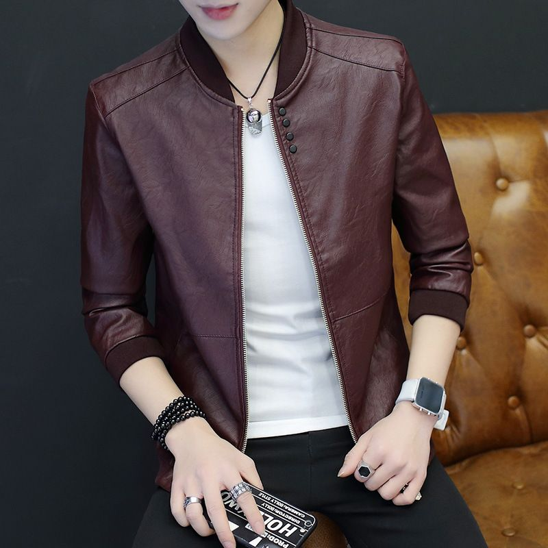 2018 Hot Spring Jacket Men's Leather Men's Fashion Youth Pu Casual Men's Coat Trend Casual Leather Jacket Men M-3XL.