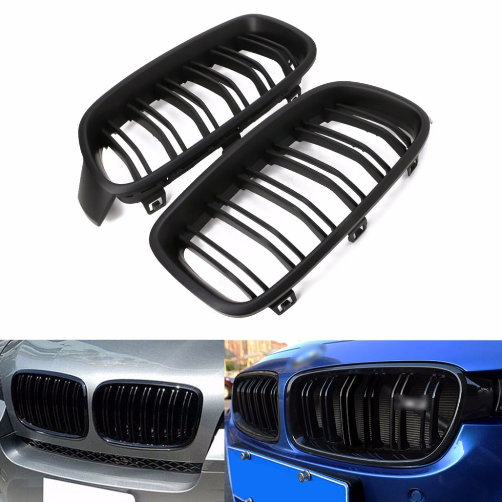 1Pair Gloss Black/Matte Black Front Grille Kidney For BMW 3-Series F30 F31 F35 2012-2016 Car Styling NEW