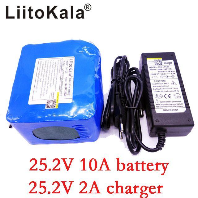 LiitoKala Brand 24V 10Ah 6S5P battery pack lithium 350w e-bike li-ion 25.2V 10000mah lithium bms electric bike battery 250W+2A
