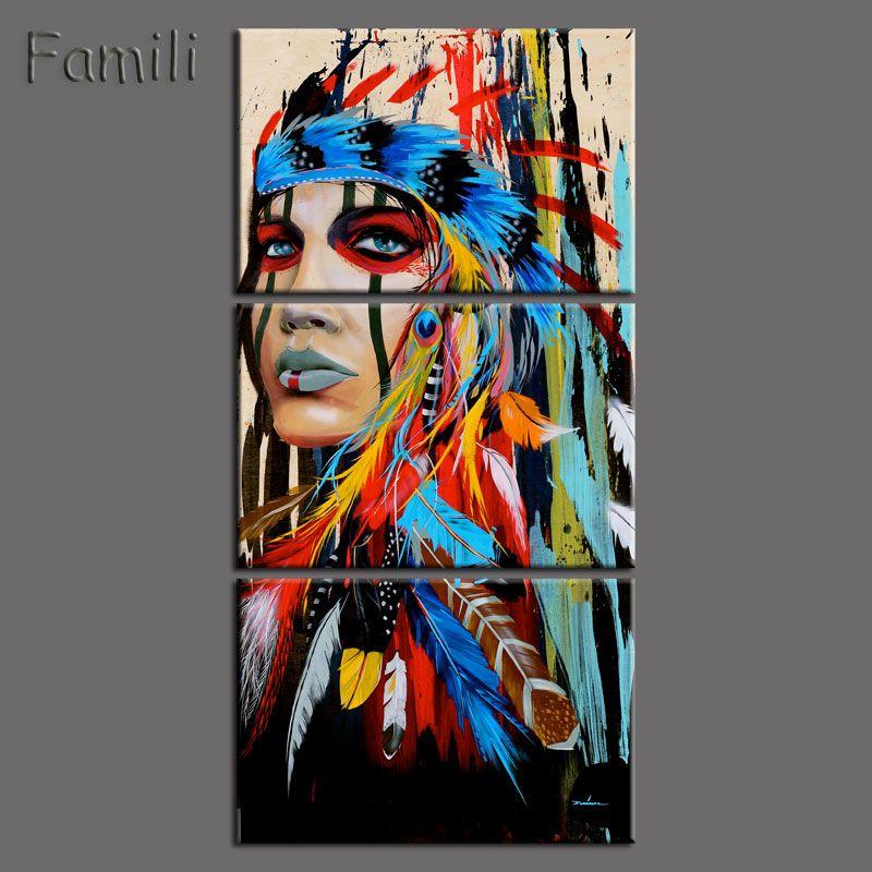 Рамку 3 шт. абстрактным принтом индейцы перьями домашнего декора Холст принтом Native American Girl роспись стены Книги по искусству изображение