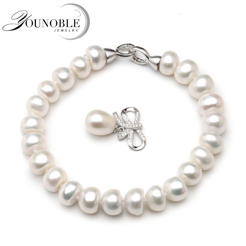 Boda pulsera de perlas de agua dulce para las mujeres, verdadera perla natural pulseras 925 joyería de plata chica mejor regalo de cumpleaños calidad superior