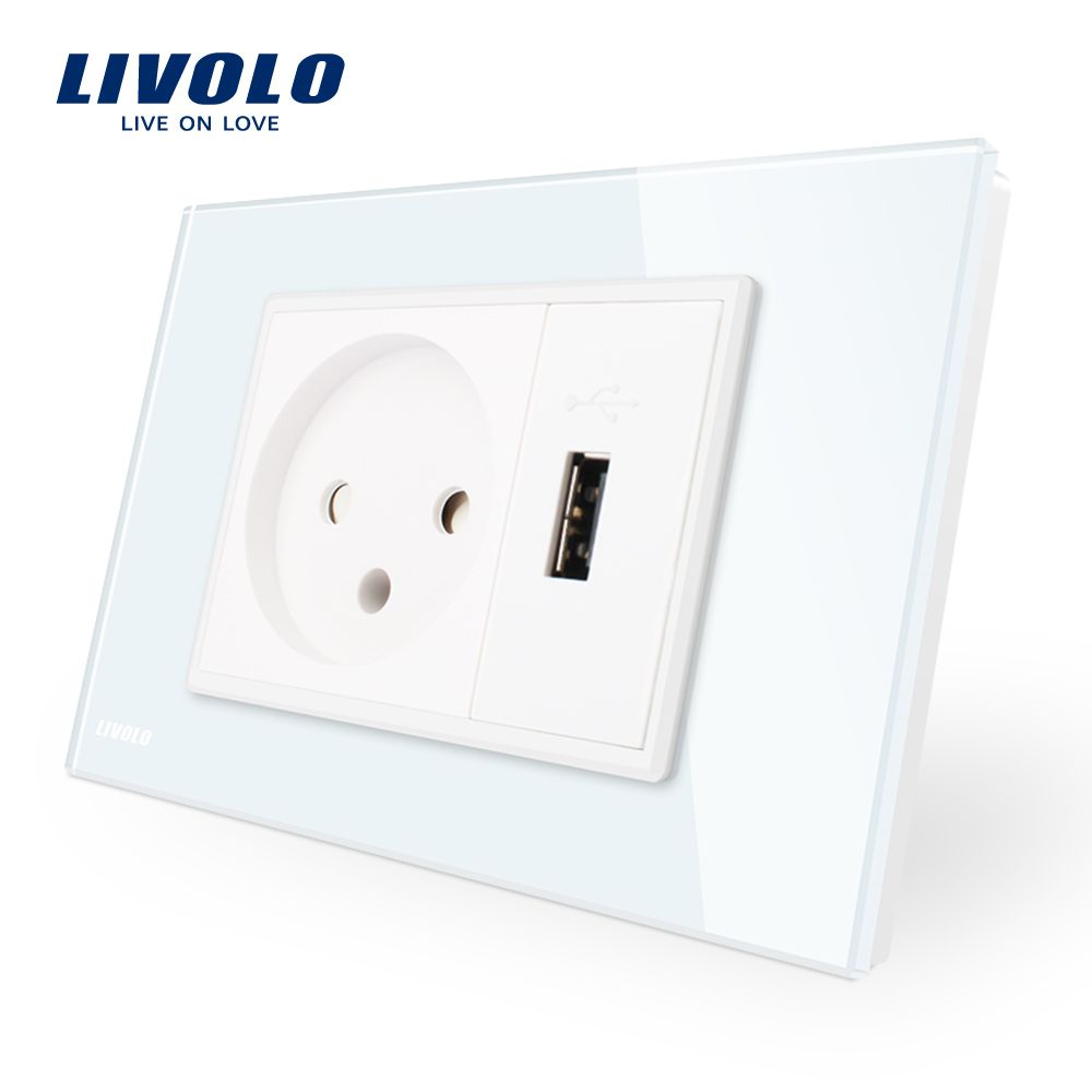 Livolo Power Socket with Usb Charger , White <font><b>Crystal</b></font> Glass Panel, AC 250V16A Wall Power Socket , VL-C9C1IL1U-11