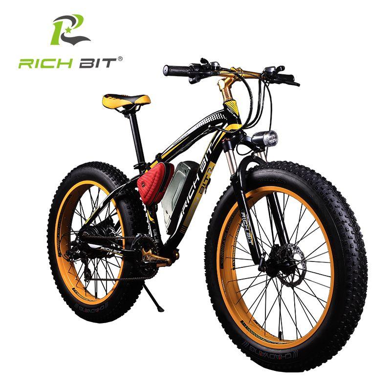 RichBit Electric Bike Powerful Fat Tire Electric Mountain Bike 48V 17AH 1000W eBike Beach Cruiser 21 Speed Electric Snow Bicycle