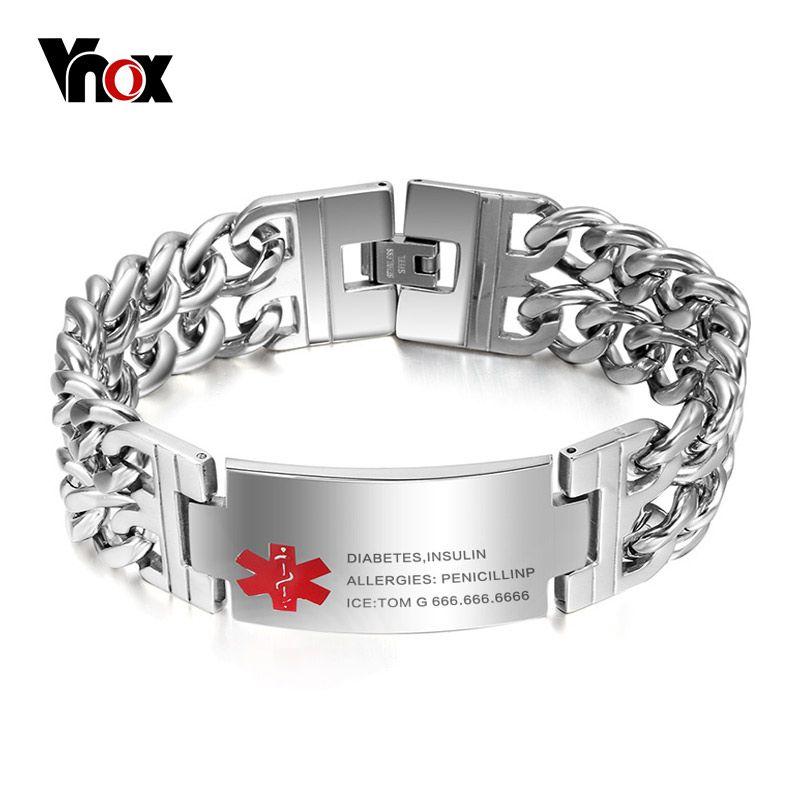 Vnox hombres Médicos alerta ID Tag pulsera brazalete del acero inoxidable pulsera cadena del acoplamiento grabado libre