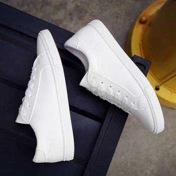 2019 New Spring and Summer With White Shoes Women Flat Leather Canvas Shoes Female White Board Shoes Casual Shoes Female