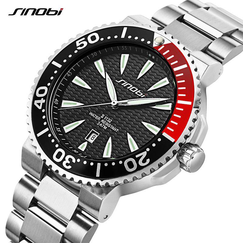 SINOBI Reloj de Los Hombres de Primeras Marcas de Lujo 3Bar Hombres Correa de Acero A Prueba de agua Deportes formales Ginebra Reloj de Cuarzo 007 Saat