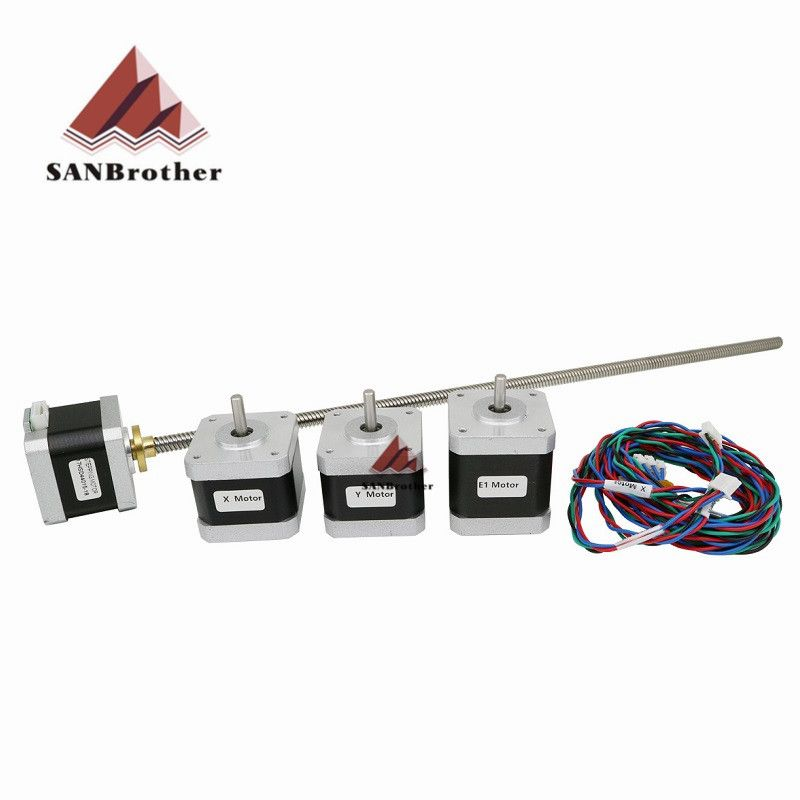 Ultimaker 2 UM2 Extended X/Y/Z axis+extruder stepper motor kit/set for DIY 400m L Z-Motor with Trapezoidal Lead Screw