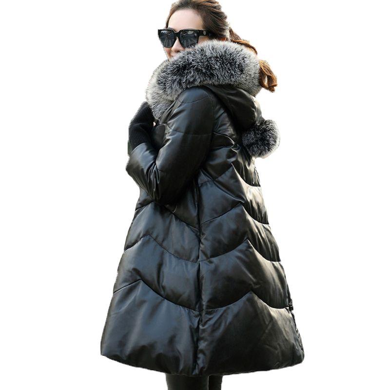 2018 elegante Neue Schaffell Weiß Unten Winter Mantel Frauen Echte Echtem Leder Jacke Warme Schnee Tragen Mit Kapuze Fuchs Pelz Kragen a888