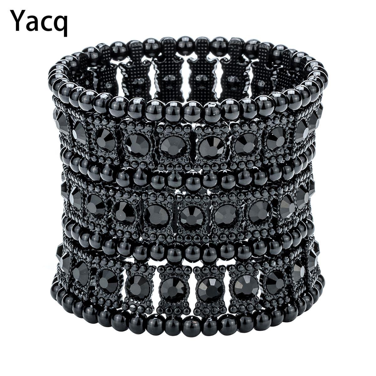 Yacq multicouche extensible manchette bracelet femmes cristal de mariage de mariée de mode bijoux cadeau B11 argent or noir livraison directe