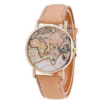 Montre 2018 relogio masculino Femmes Carte Du Monde de Bracelet En Cuir Analogique Quart Montre Heure Cadran Montre Reloj Horas femmes montres