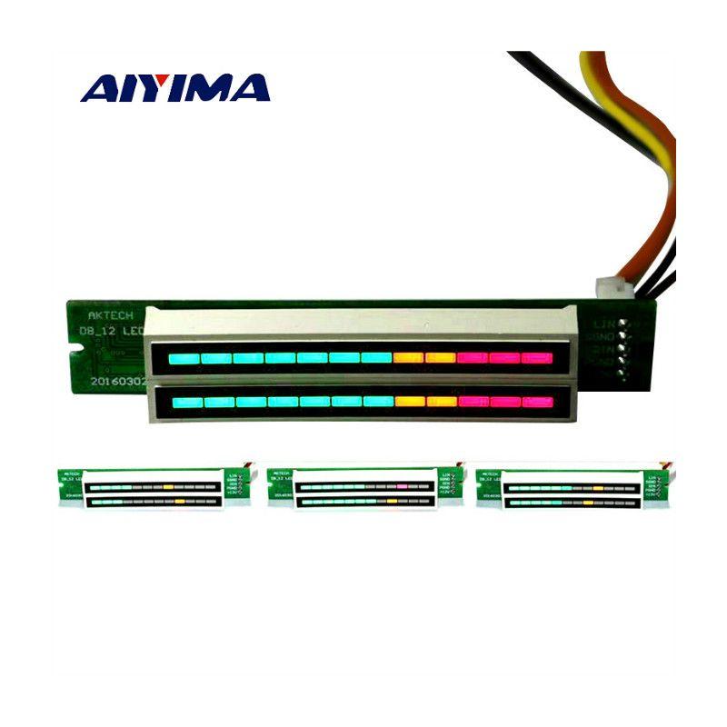Aiyima стерео индикатор уровня VU Meter лампы мини Усилители аудио DIY Регулируемый свет Скорость доска с agc режим двойной 12 цифра